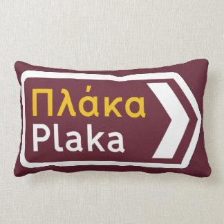 Plaka, Traffic Sign, Greece Lumbar Cushion