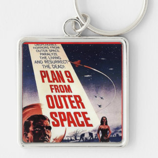 Plan 9 From Outer Space Silver-Colored Square Key Ring