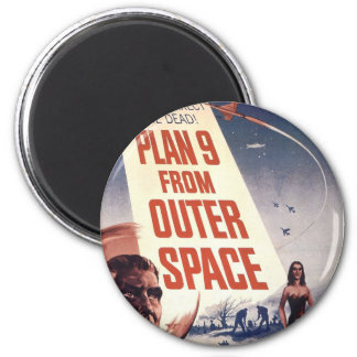 Plan 9 From Outer Space Movie Poster 6 Cm Round Magnet