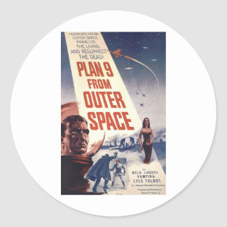 Plan 9 From Outer Space Movie Poster Round Sticker