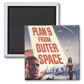 Plan 9 From Outer Space Movie Poster Square Magnet