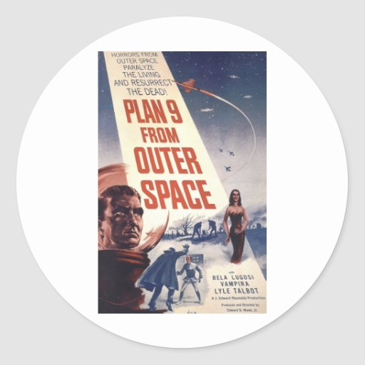 Plan 9 From Outer Space Movie Poster Round Stickers