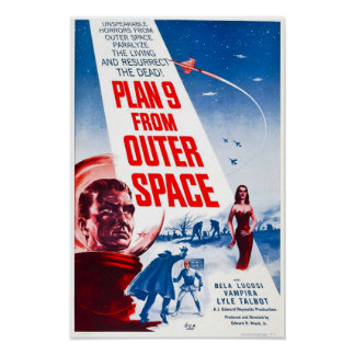 Plan 9 From Outer Space Vintage Horror Movie Poste Poster