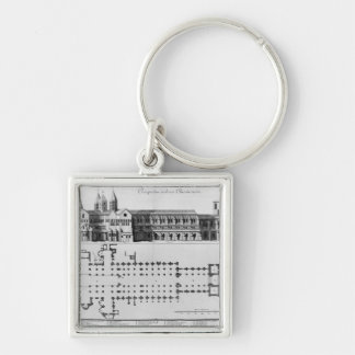 Plan and elevation of Cluny Abbey Silver-Colored Square Key Ring