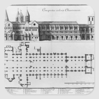 Plan and elevation of Cluny Abbey Square Sticker