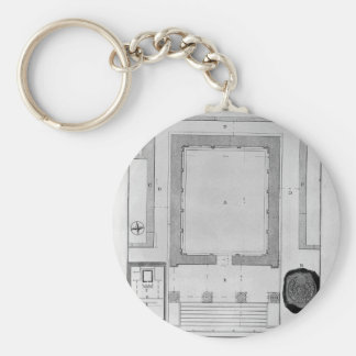 Plan and elevation rear of the Temple of the Sibyl Basic Round Button Key Ring