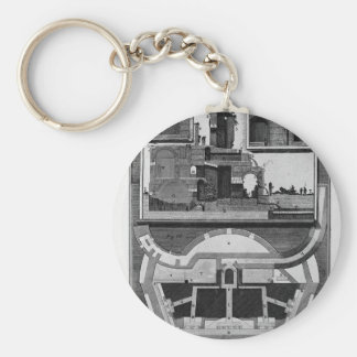 Plan and vertical sections of the castle Giovanni Basic Round Button Key Ring