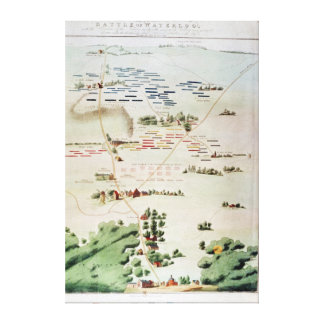 Plan and view of the Battle of Waterloo Canvas Print