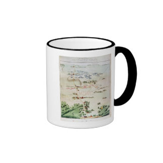 Plan and view of the Battle of Waterloo Ringer Mug
