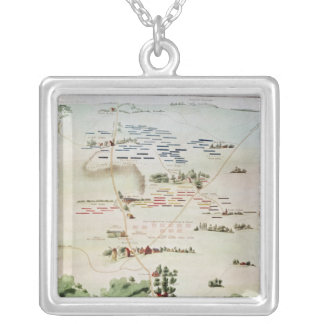 Plan and view of the Battle of Waterloo Silver Plated Necklace