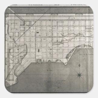 Plan Directeur de la Ville des Cayes, 1789 Square Sticker