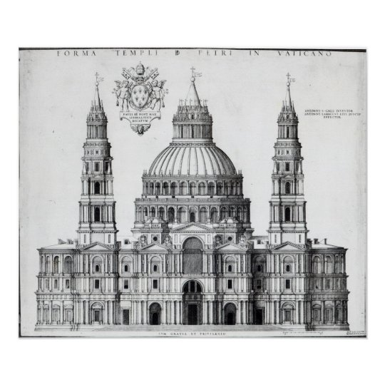 Plan for St. Peter's, Rome, 1539 Poster