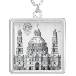 Plan for St. Peter's, Rome, 1539 Silver Plated Necklace