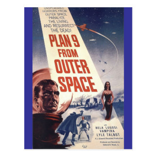 "Plan nine from outer space"" postcard"