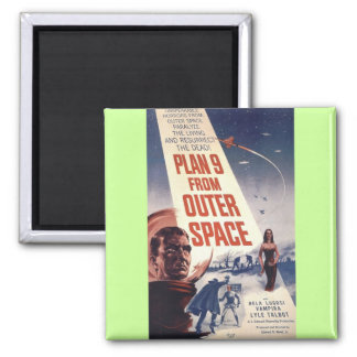 "Plan nine from outer space"" square magnet"