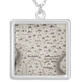 Plan of an Old Fort in the state of Kentucky Silver Plated Necklace