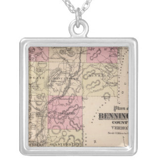 Plan of Bennington County, Vermont Silver Plated Necklace