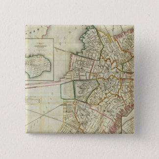 Plan of Boston and Charleston 15 Cm Square Badge