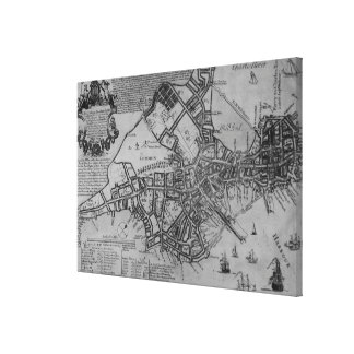 Plan of Boston, New England, 1739 Canvas Print