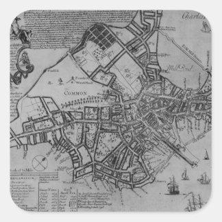 Plan of Boston, New England, 1739 Square Sticker
