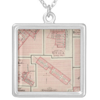 Plan of Charlestown with Utica, Henryville Silver Plated Necklace