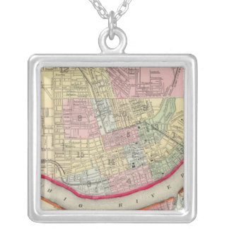 Plan Of Cincinnati And Vicinity Silver Plated Necklace