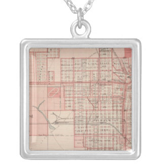 Plan of Council Bluffs, Pottawattamie Co Silver Plated Necklace