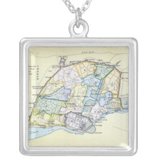 Plan of Delhi 1857-58, engraved by Guyot & Silver Plated Necklace
