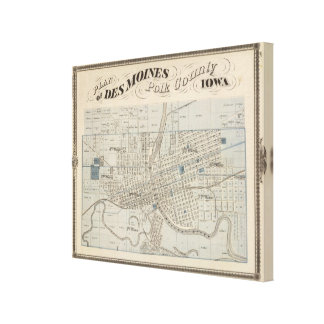 Plan of Des Moines, Polk County, Iowa Gallery Wrapped Canvas