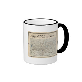 Plan of Des Moines, Polk County, Iowa Coffee Mugs