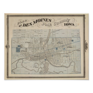 Plan of Des Moines, Polk County, Iowa Poster