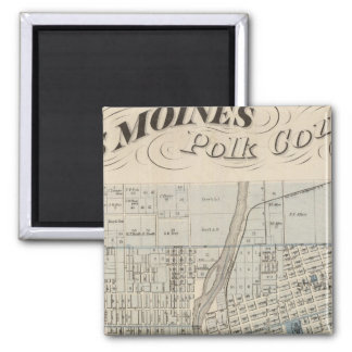Plan of Des Moines, Polk County, Iowa Square Magnet