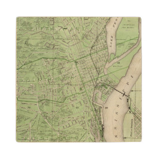 Plan of Dubuque, Dubuque County, State of Iowa Maple Wood Coaster