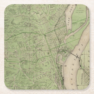 Plan of Dubuque, Dubuque County, State of Iowa Square Paper Coaster