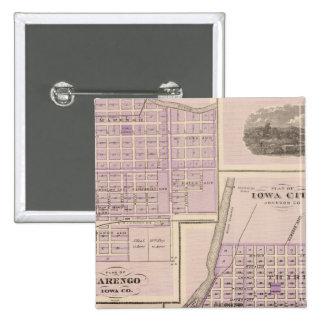 Plan of Iowa City, Plan of Marengo 15 Cm Square Badge