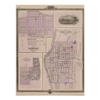 Plan of Iowa City, Plan of Marengo Poster