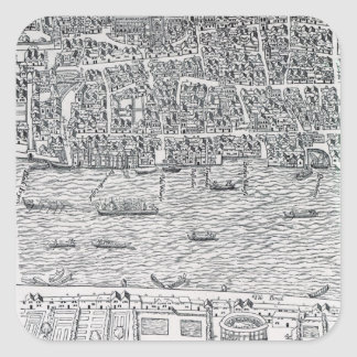 Plan of London, c.1560-70 Square Sticker