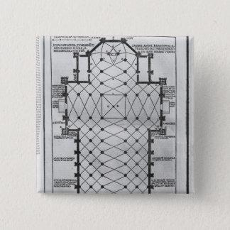 Plan of Milan Cathedral 15 Cm Square Badge