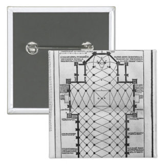 Plan of Milan Cathedral 15 Cm Square Badge