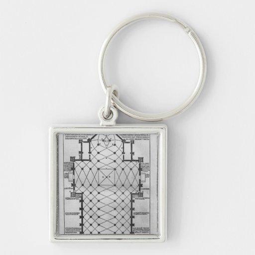 Plan of Milan Cathedral Key Chains
