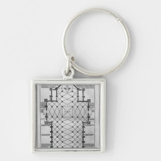 Plan of Milan Cathedral Silver-Colored Square Key Ring