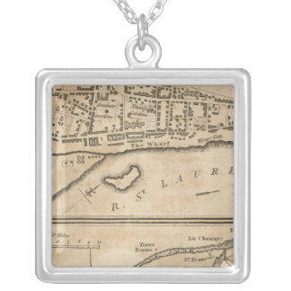 Plan of Montreal, with a Map of the Islands Silver Plated Necklace