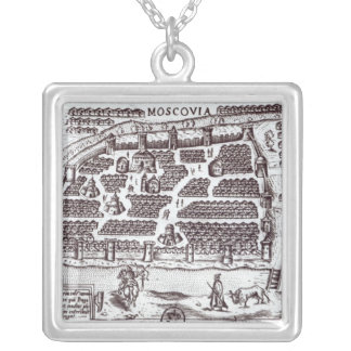 Plan of Moscow, 1628 Silver Plated Necklace