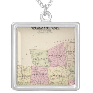 Plan of Orange County in Vermont Silver Plated Necklace