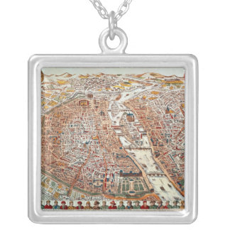 Plan of Paris bordered by a chronological Silver Plated Necklace