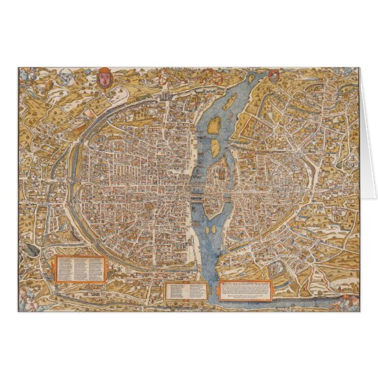 Plan of Paris by Truschet et Hoyau Circa 1550 Card