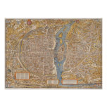 Plan of Paris by Truschet et Hoyau Circa 1550 Poster