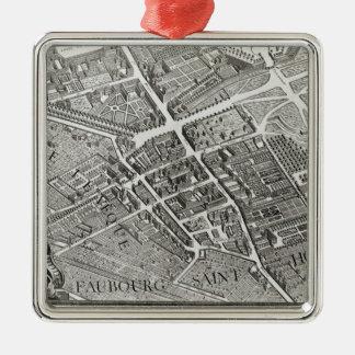 Plan of Paris, known as the 'Plan de Turgot' Silver-Colored Square Decoration