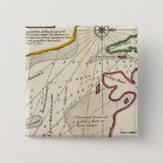 Plan of Port Royal Harbour in Carolina 15 Cm Square Badge