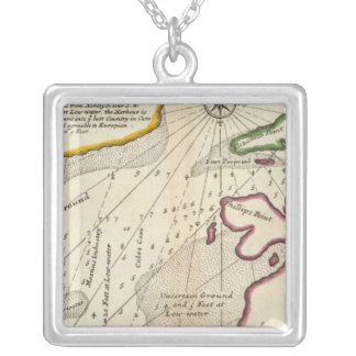 Plan of Port Royal Harbour in Carolina Silver Plated Necklace